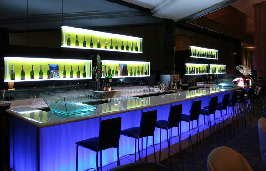 Bar using White and Blue LED Strips