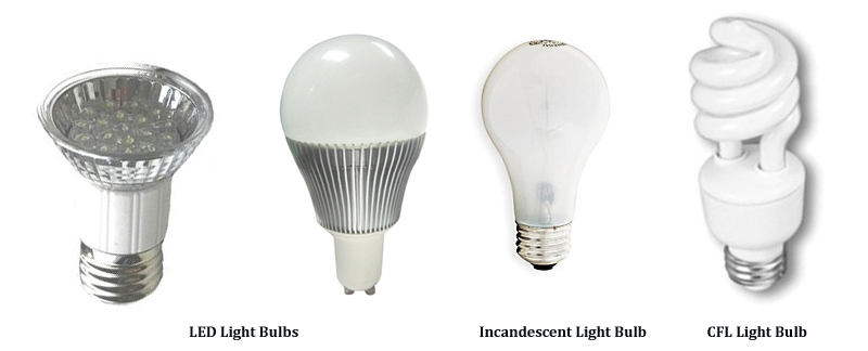 led cfl and incandescent light bulbs